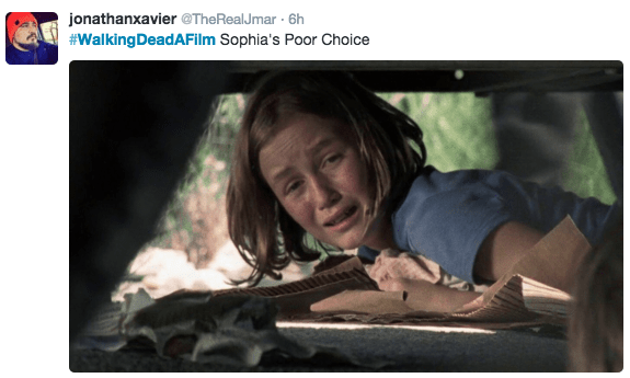 Text - jonathanxavier @TheRealJmar 6h #WalkingDeadFilm Sophia's Poor Choice