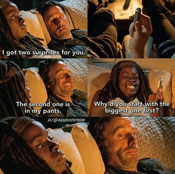 michonne and rick surprise