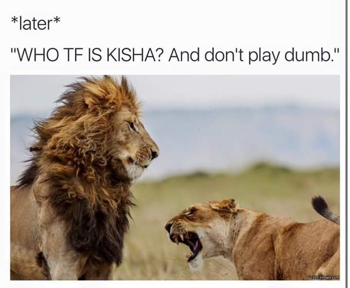 """Lion - *later* """"WHO TF IS KISHA? And don't play dumb."""" tEarwon"""