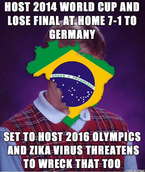 brazil,zika virus,world cup,bad luck brian,olympics