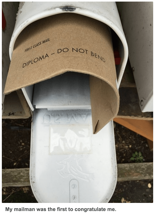 funny fail image mailman delivers diploma