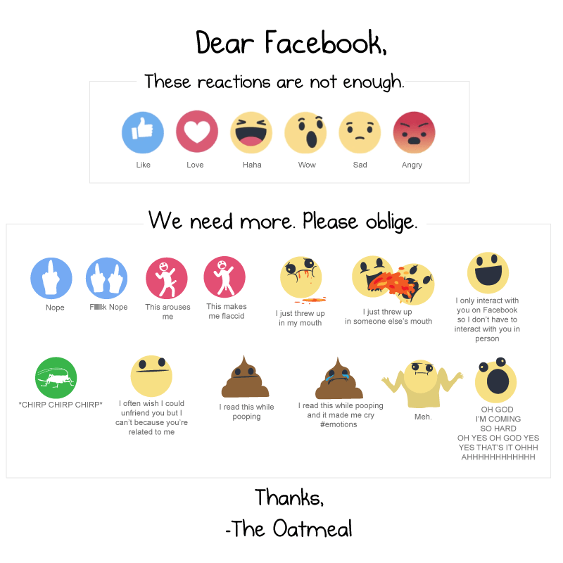 funny facebook image the oatmeal suggests more facebook reactions