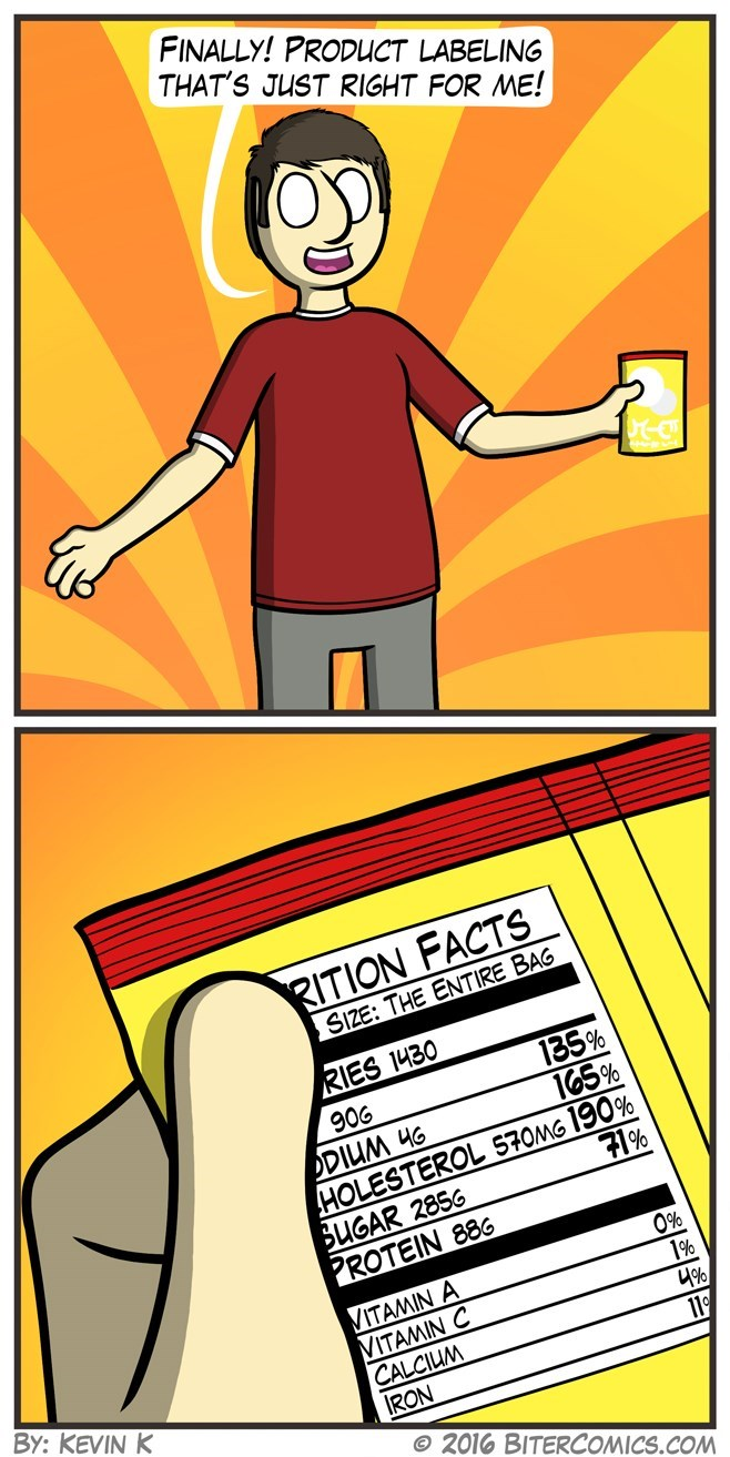 web comics nutrition For Once the Manufacturer Was Realistic About the Serving Size
