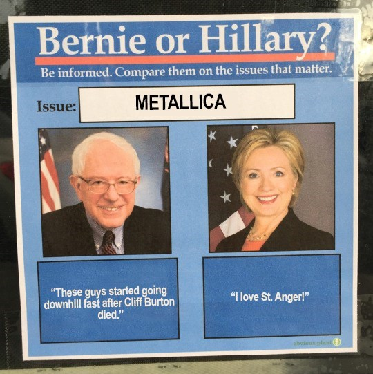 Music,metallica,politics,bernie vs hillary