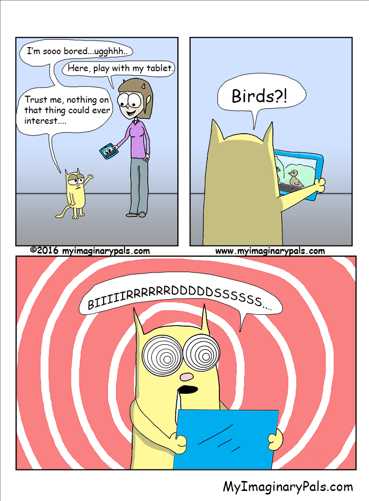 web comics cats birds Wait Till You See the One With a Virtual Fish Pond