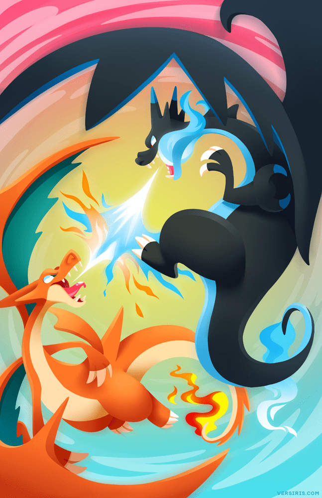 pokemon fan art mega charizard fight