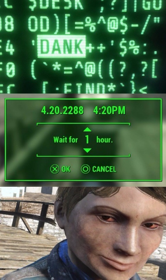 Dank o'clock Fallout meme