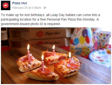 pizza hut,birthday,leap year,free