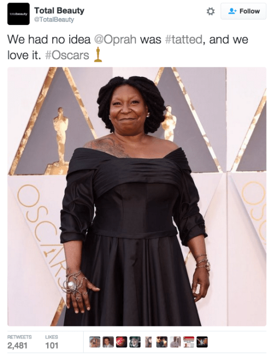 funny fail image tweets mistakes Whoopi Goldberg for Oprah Winfrey at 2016 Oscars