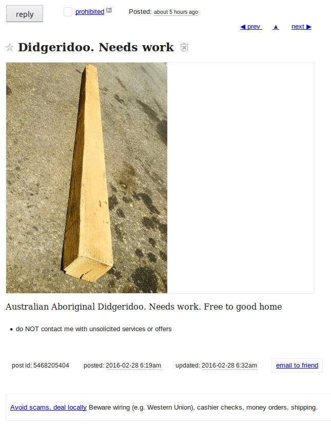 funny craigslist ad didgeridoo needs work