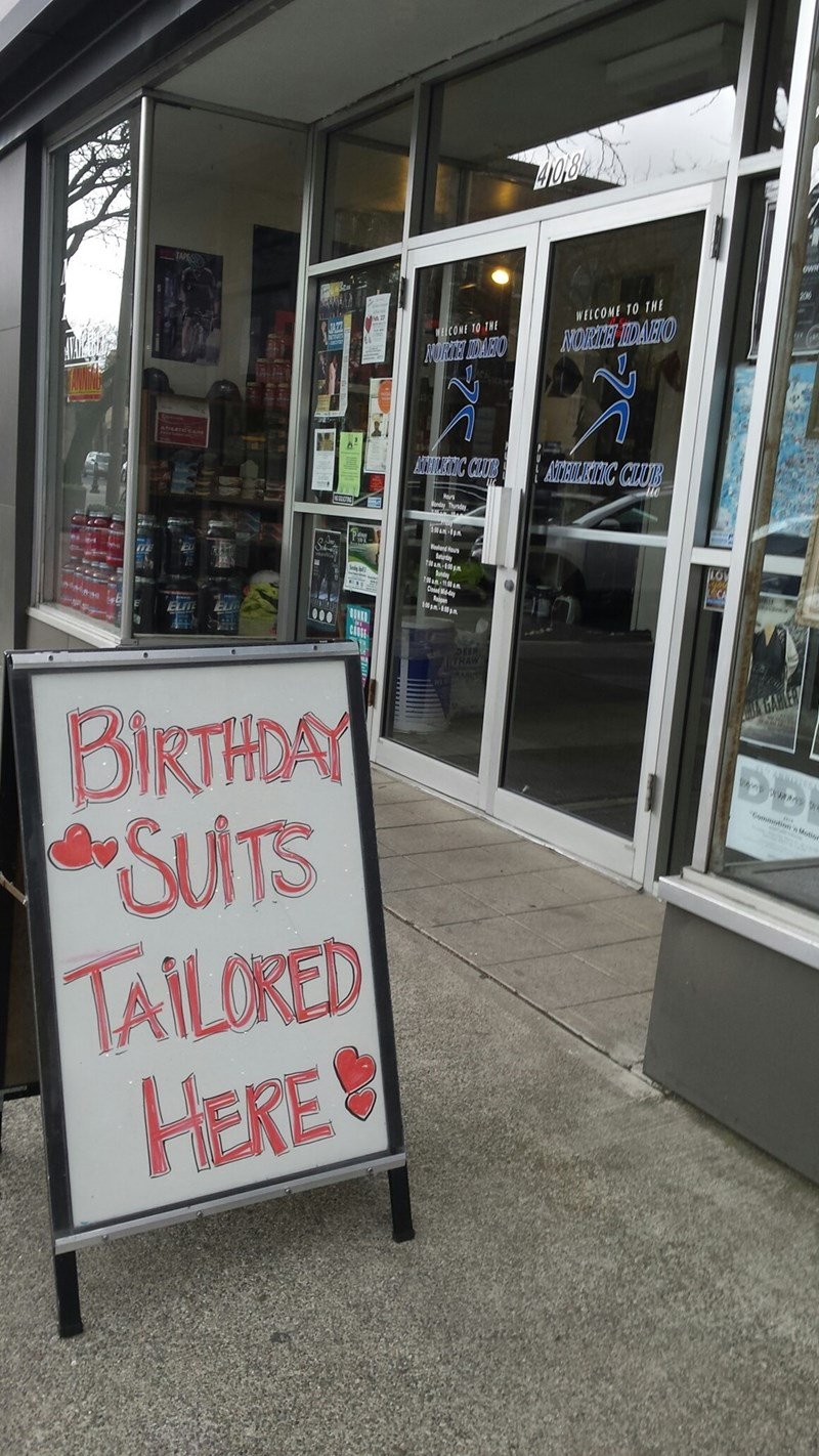 gym sign birthday suits tailored here