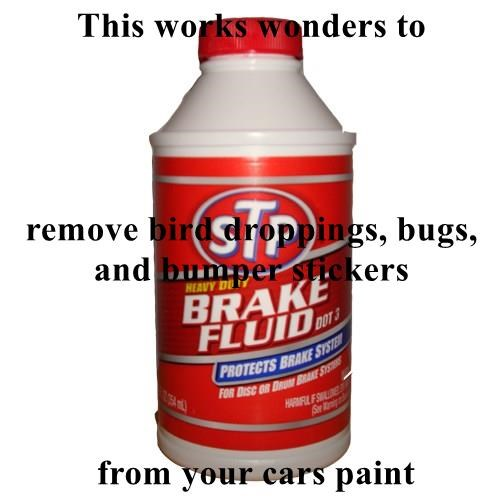 This works wonders to remove bird droppings, bugs, and bumper stickers  from your cars paint