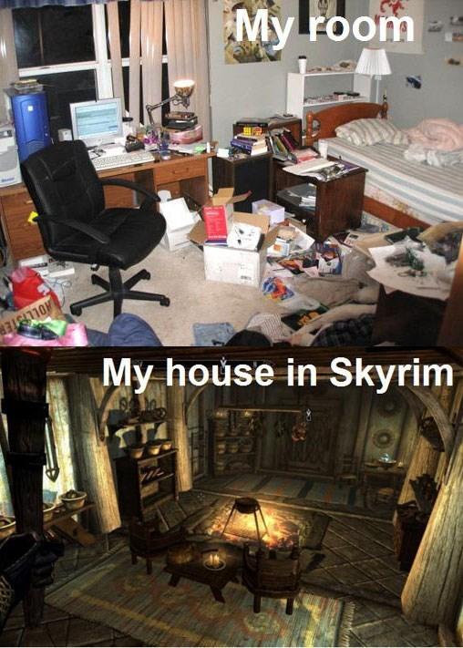 my room in skyrim vs real life