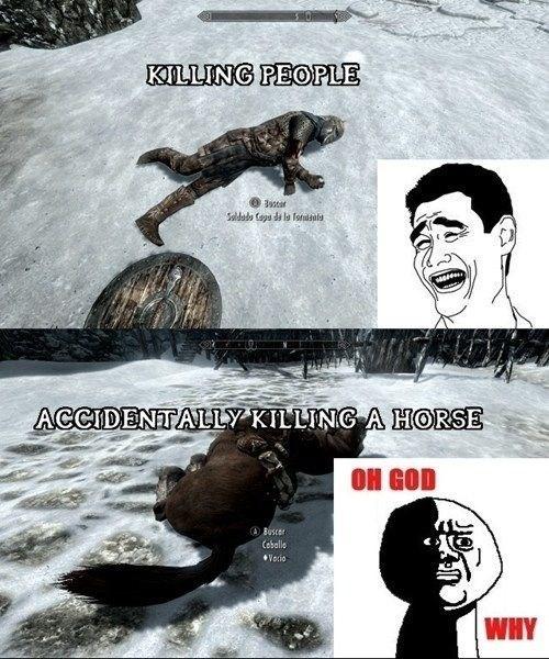 video game memes killing people vs animals