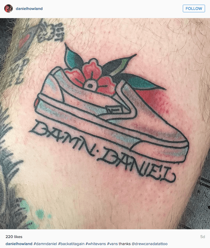 funny tattoo image guy gets damn daniel meme leg tatttoo