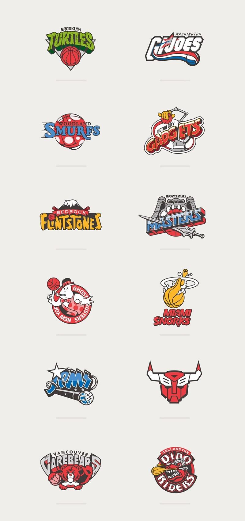 80s cartoons basketball logo style