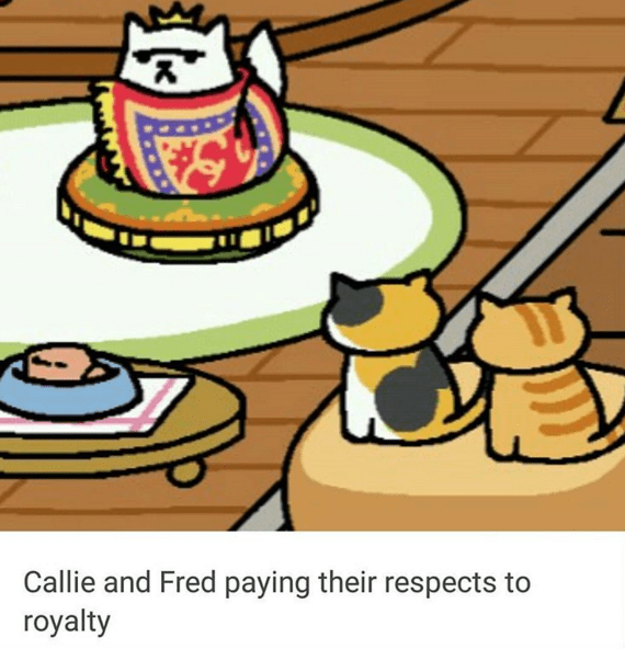 Cartoon - Callie and Fred paying their respects to royalty