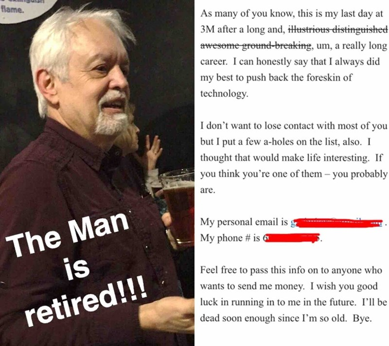funny work image guy's last email before retirement is spot on
