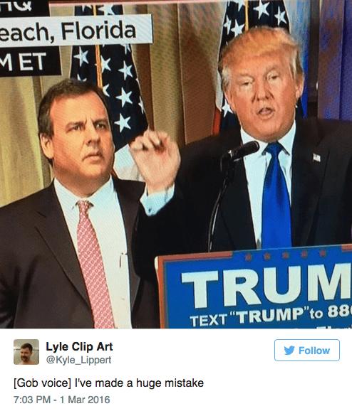 "News - each, Florida MET TRUM TEXT ""TRUMP'to 88 Lyle Clip Art @Kyle_Lippert Follow [Gob voice] I've made a huge mistake 7:03 PM -1 Mar 2016"