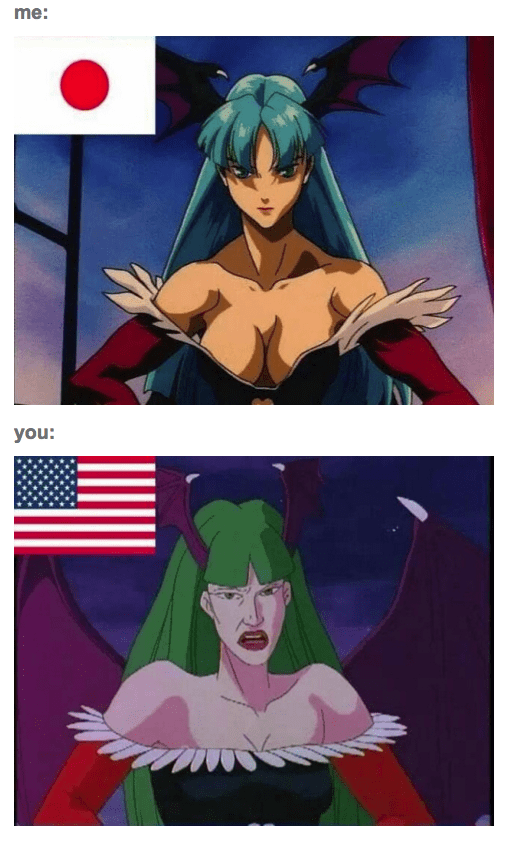 anime memes me vs your morrigan darkstalkers