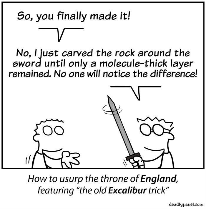 web comics excalibur technology Modern Technology Kind of Made That Test Irrelevant