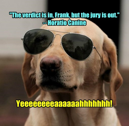 """The verdict is in, Frank, but the jury is out."" -- Horatio Canine"