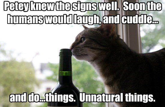 Petey knew the signs well.  Soon the humans would laugh, and cuddle...