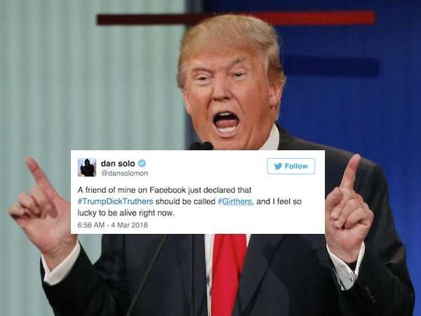 donald trump politics Donald Trump's Claims About His Manhood Spawned a Pun-Based Twitter Movement