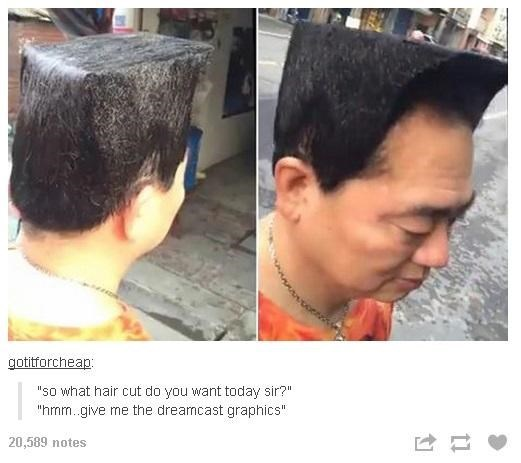 """Hair - gotitforcheap: """"so what hair cut do you want today sir?"""" """"hmm give me the dreamcast graphics"""" 20,589 notes"""