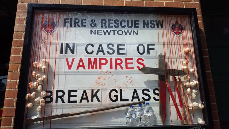 Text - FIRE & RESCUE NSW NEWTOWN R IN CASE OF VAMPIRES BREAK GLASS a000 670 676