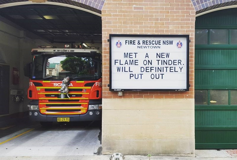 Transport - FIRE & RESCUE NSW NEWTOWN MET A NEW FLAME ON TINDER. WILL DEFINITELY PUT OUT RE FIR SC A 307 mounT eal BD 29 YG