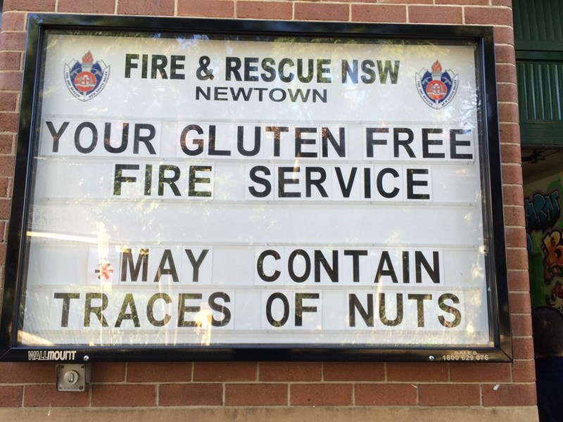 Text - FIRE&RESCUE NSW NEWTOWN RESCUE YOUR GLUTEN FREE FIRE SERVICE MAY CONTAIN TRACES OF NUTS ALES 1800 629 676 WALLMOUNT MADGS MON