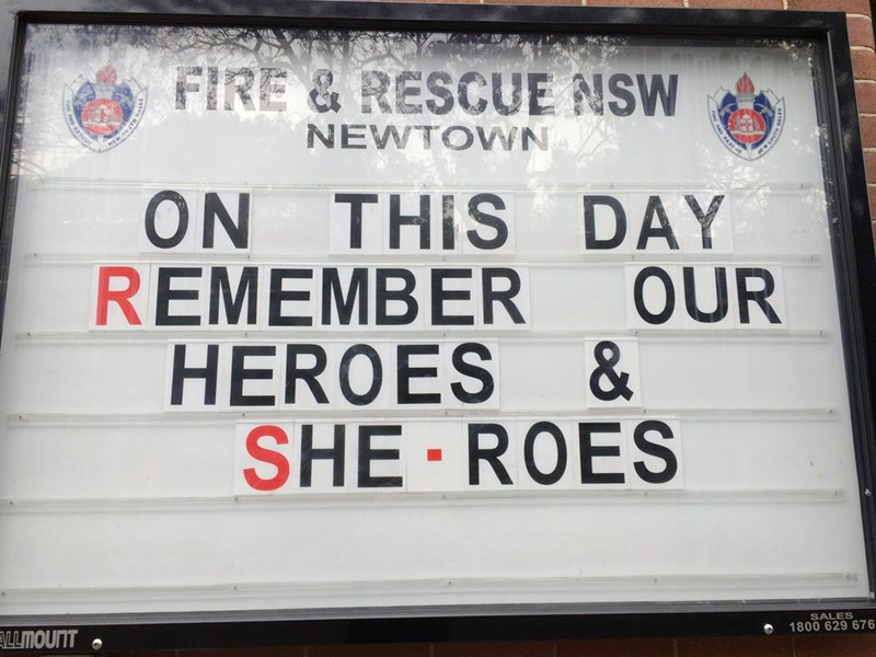 Text - FIRE & RESCUE NSW NEWTOWN ON THIS DAY REMEMBER OUR HEROES & SHE-ROES SALES 1800 629 676 LLMOUNT RESCUE