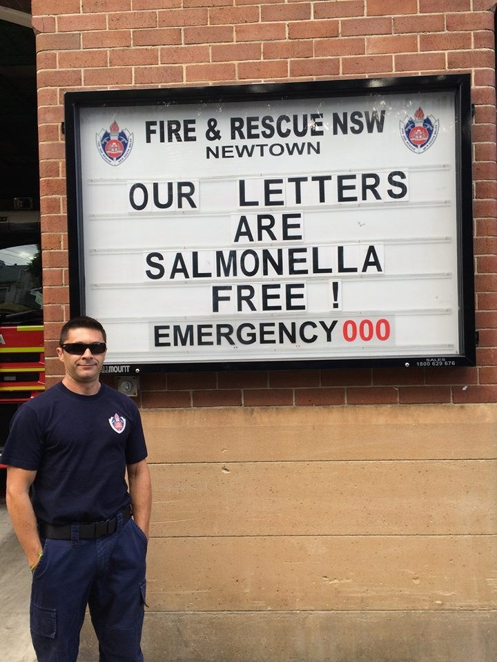 Text - FIRE& RESCUE NSW NEWTOWN OUR LETTERS ARE SALMONELLA FREE! EMERGENCY 000 ALMOUNT SALES 1800 629 676