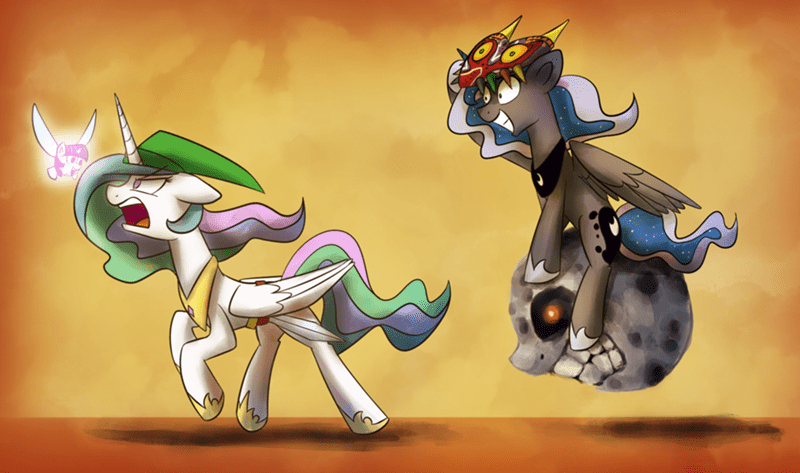 twilight sparkle,princess luna,princess celestia,majoras mask
