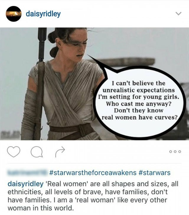 "star wars daisy ridley body standards Daisy Ridley ""Won't Apologize"" to Internet Trolls for the Way She Looks"