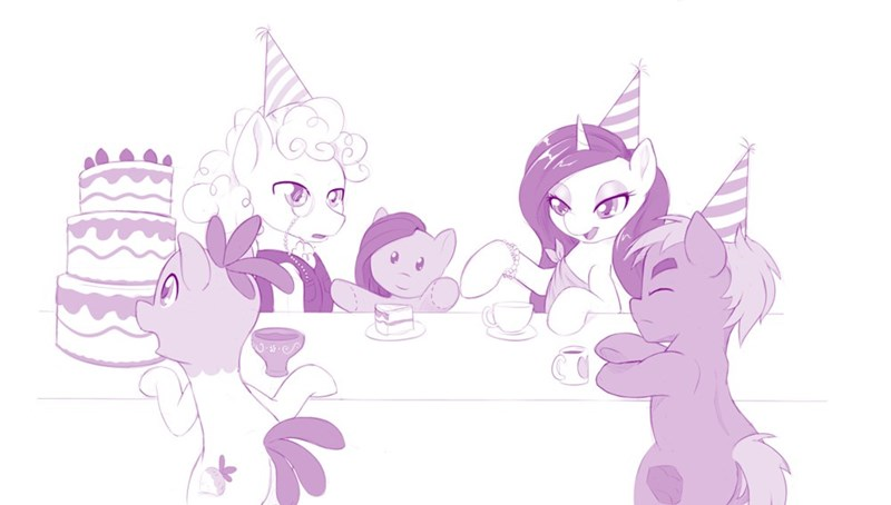 madame le flour,pinkamena diane pie,pinkie pie,mr-turnip,party of one,sir lintsalot,rocky