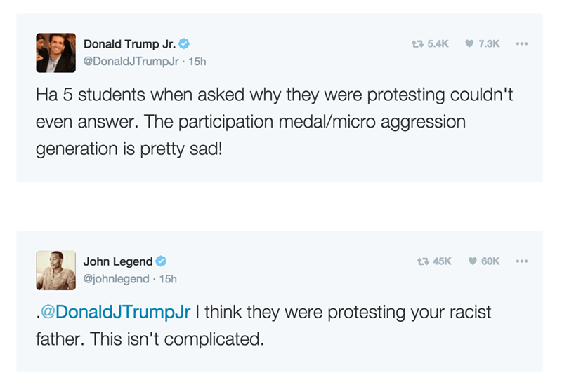 john legend donald trump twitter John Legend Explained to Donald Trump's Son Why People Were Protesting His Dad's Rally