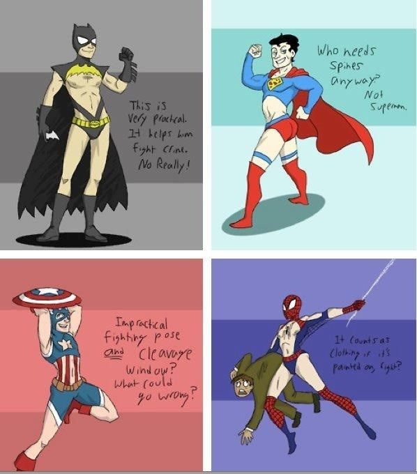 superheroes costume impractical If Male Superheroes' Costumes Were Designed Like Female Superhero Costumes
