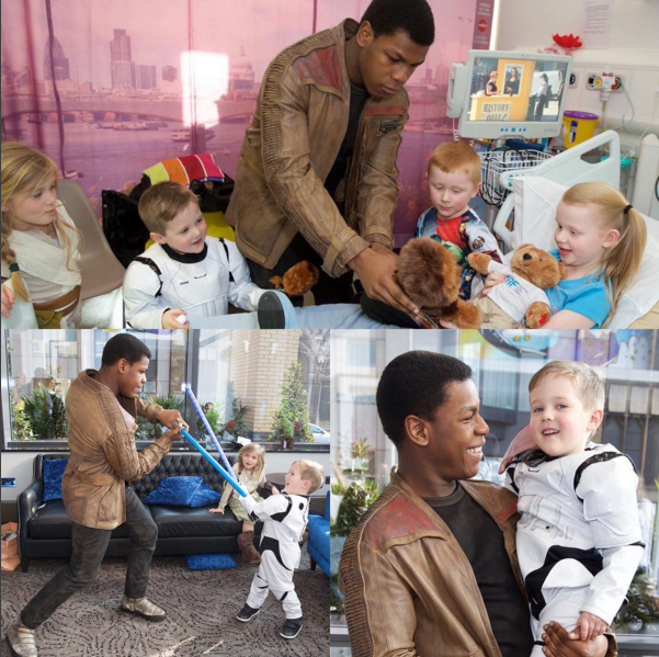star wars win kids John Boyega Stayed in Character as Finn During an Adorable Visit to a Children's Hospital