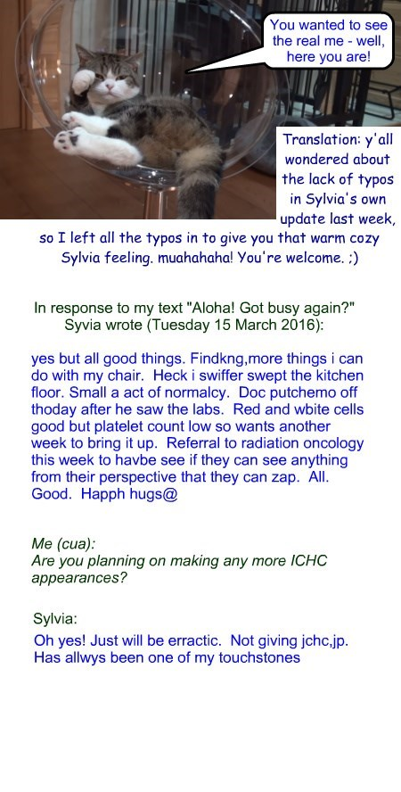 """Sylvia update, Tuesday 15 March 2016: """"for Sylvia's dedicated fans"""""""