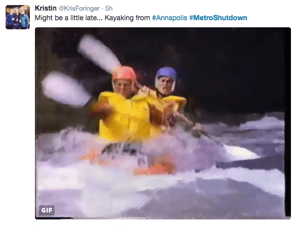 Recreation - Kristin @KrisForinger 5h Might be a little late... Kayaking from #Annapolis #MetroShutdown GIF