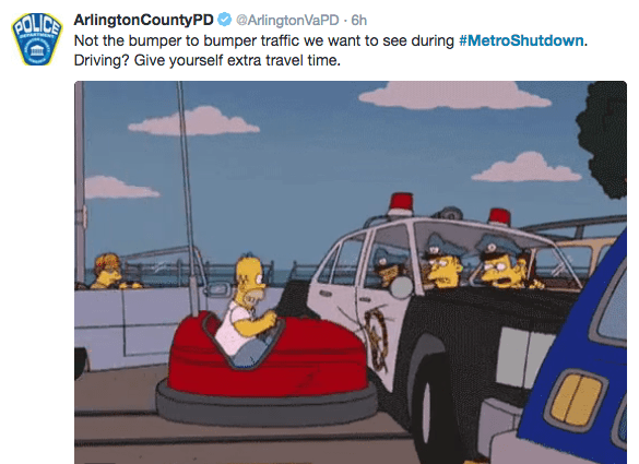 Cartoon - GOLICS ArlingtonCountyPD@ArlingtonVaPD 6h Not the bumper to bumper traffic we want to see during #MetroShutdown. Driving? Give yourself extra travel time