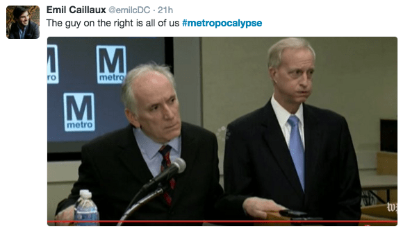 Event - Emil Caillaux @emilc DC 21h The guy on the right is all of us #metropocalypse M metro metro