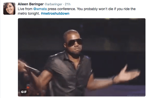 Eyewear - Aileen Beringer @arberinger 21h Live from @wmata press conference. You probably won't die if you ride the metro tonight. #metroshutdown GIF HIDOLECHILDSWAG