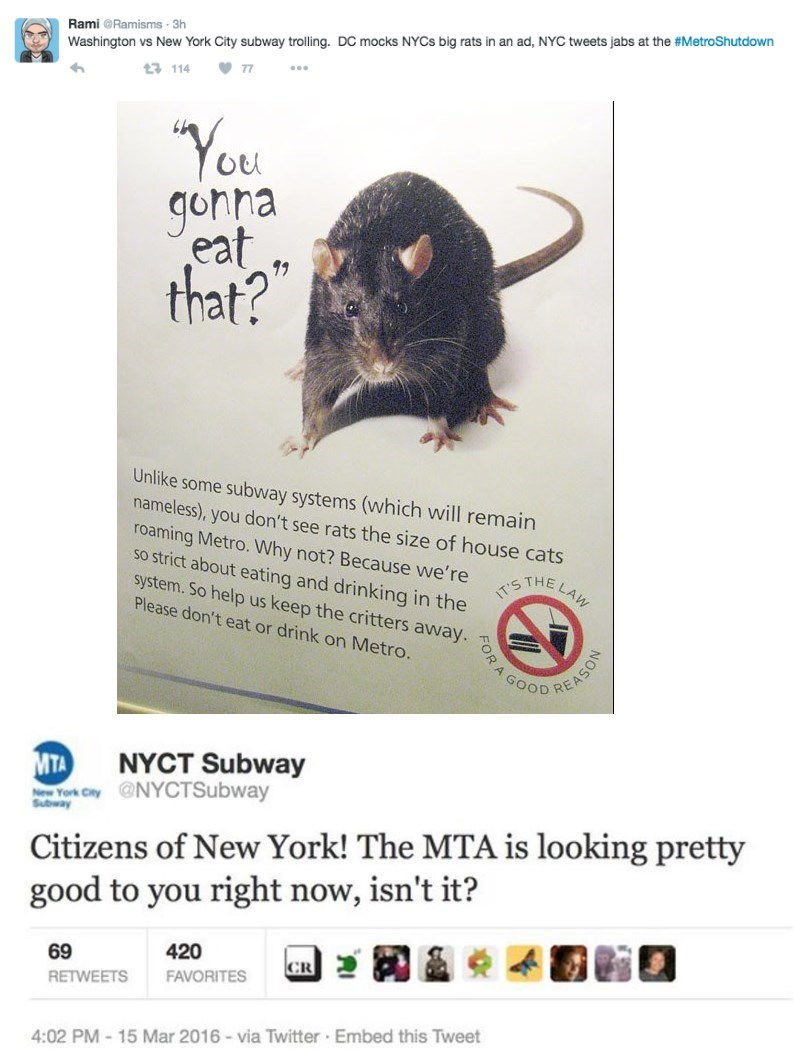 """Rat - Rami @Ramisms 3h Washington vs New York City subway trolling. DC mocks NYCS big rats in an ad, NYC tweets jabs at the #MetroShutdown t3 114 7 """"Yoe gohna eat that? Unlike some subway systems (which will remain nameless), you don't see rats the size of house cats roaming Metro. Why not? Because we're so strict about eating and drinking in the system. So help us keep the critters away. IT'S TE LAW Please don't eat or drink on Metro. GOOD REASON MTA pw York City NYCTSubway NYCT Subway Subway C"""