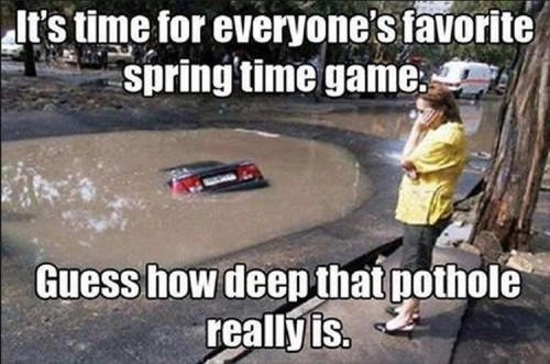 spring cars driving potholes