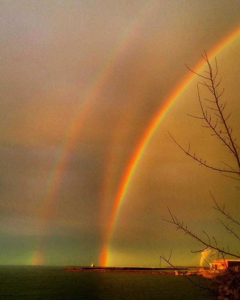 win image triple rainbow over new york state
