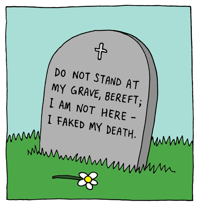 web comics gravestone Well, I Feel Better but That's Not Very Subtle