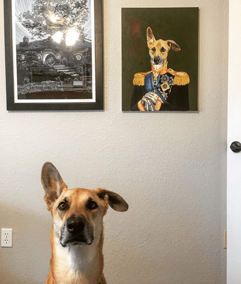 dog and painting of himself